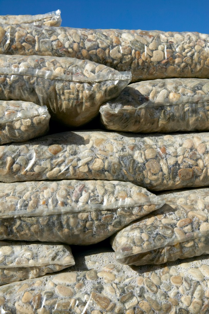 Packaged and stacked stones for industry