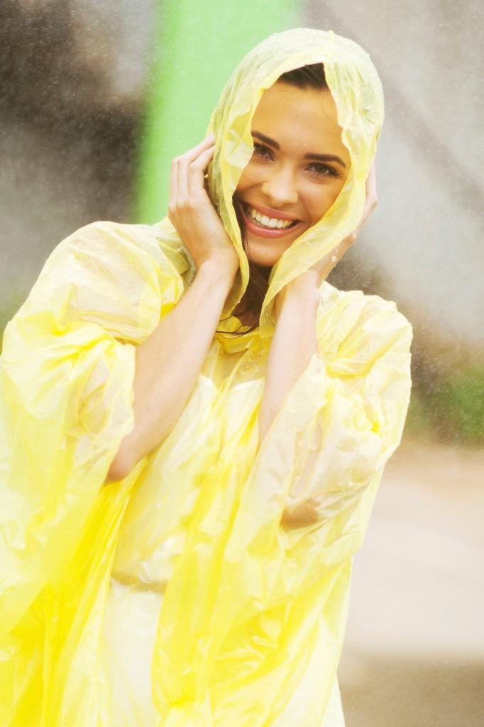 pretty woman in raincoat